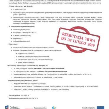 """Rekrutacja do projektu """"Fachowość i taktyka szansą na zatrudnienie"""""""