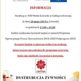 Wydawanie żywności w Parafii NMPMK w Gołdapi