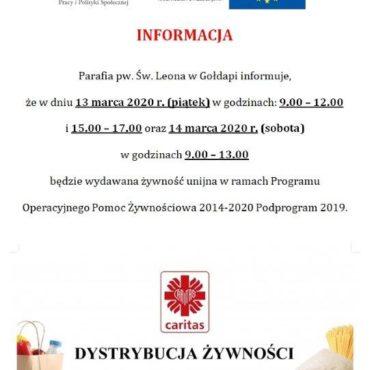 Wydawanie żywności Parafia św. Leona 13.03.2020 r.