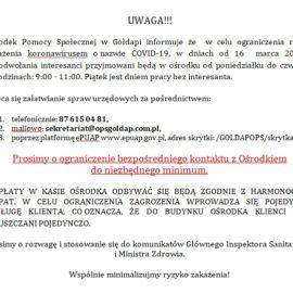Informacja dot. przyjmowania interesantów od dnia 16.03.2020 r.